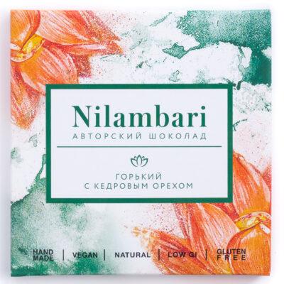 Шоколад Nilambari горький с кедровым орехом, 65гр